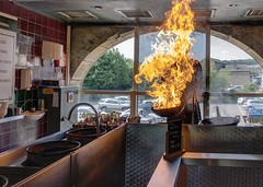 Mongolian Cooking (dlsmith) Tags: stirfry flame intense chef sowerbybridge mongolian england yorkshire halifax fire cooking wok food temujin