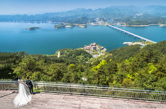Marriage @ Qiandao lake, Zhejiang China (Feng Wei Photography) Tags: view landscape qiandaolake relax landmark outdoor hangzhou ceremony colorful scenery beautiful travel horizontal path color bridge serene beauty china love zhejiang scenicsnature serenity beautyinnature peaceful v couple asia highangleview sunset marriage tourism dusk scenic cn