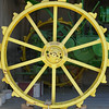 Yellow tractor wheel - squared circle (Monceau) Tags: wheel yellow spokes large tractor 81spokes 118picturesin2018 squaredcircle squircle roundshapes flickrfriday