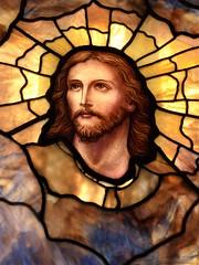 Evanston, IL, Halim Time & Glass Museum, Stained Glass Window, Jesus Christ Portrait (Mary Warren 10.4+ Million Views) Tags: evanstonil halimtimeandglassmuseum art glass stainedglass yellow gold portrait jesus christ