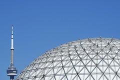 CN Tower and Cinesphere (designwallah) Tags: canada lakeshoreboulevardwest ontarioplace ontario cntower toronto olympusm75300mmf4867ii olympusomdem5markii