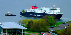 Scotland Greenock the car ferry Clansman leaving the ship repair dock 1 May 2018 by Anne MacKay (Anne MacKay images of interest & wonder) Tags: scotland greenock caledonian macbrayne calmac car ferry clansman tug boat ship xs1 1 may 2018 picture by anne mackay