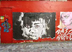 Red Wall of Art (david ross smith) Tags: paris france graffiti art text ad poster sticker sign signage pigalle 18tharr 18tharrondissement