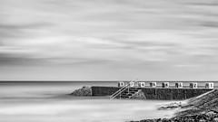 Small or big pool ? (The Black Fury) Tags: monochrome sea longexposure blackandwhite noiretblanc seascape water nature bw light poselongue beach normandie sunrise old sky clouds