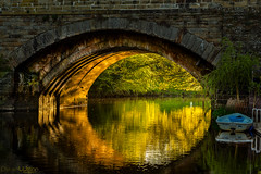 Define beauty (peterwilson71) Tags: bridge reflections boat river light arcitecture arch beautiful exposure evening leaves foliage flow grass green lone motion nature outdoors riverside trees travel sunset landscape