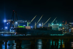 load of junk (pbo31) Tags: bayarea california eastbay alamedacounty nikon d810 color may 2018 spring boury pbo31 urban city oakland portofoakland black dark night ship sail port harbor marine shipping container alameda reflection channel