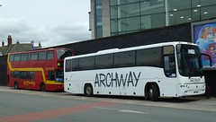 20180509 Archway Blackpool Rail-Replacement (blackpoolbeach) Tags: archway travel railreplacement service blackpool north railway station railroad ar02way coach sainsburys bus