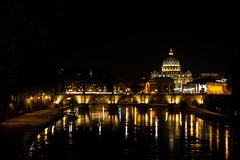The Tiber with St Peter's at Night (Lars Ørstavik) Tags: river bridge church dome stpeters tiber reflections nightshot water lights citylights night sky building