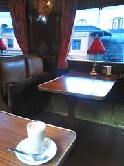 The café, Madrid Railway Museum. (d.kevan) Tags: cafés traincarriages museums coffee windows railwaymuseums madrid spain madridrailwaymuseum lamps tables seats glasses saucers spoons curtains