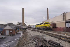 LF-1 in Elmwood Park - 4/04/2018 (John McCloskey Jr.) Tags: trains emd sd33eco nysw new jersey outdoors urban marcal paper tracks