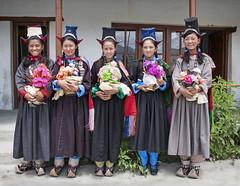 Ladakhi schoolgirls in traditional dress (bag_lady) Tags: ladakh schoolgirls nubravalley india jammuandkashmir sumur modelschool education school traditionalcostume cultural buddhist