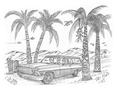 Tiki Flats (rod1691) Tags: myart art sketchbook bw scfi grey concept custom car retro space hotrod drawing pencil h2 hb original story fantasy funny tale automotive illustration greyscale moonpies sketch sexy