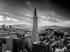 Transamerica Tower, Financial District, San Francisco (Paddy O) Tags: 2018 alcatrazisland transamericapyramidtower monochrome goldengatebridge financialdistrict transamericapyramid sky blackwhite embarcadero sanfrancisco coittower transamericatower baytobreakers