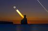 New Moonset  , 4/100 , Cala Benirras , Ibiza ... (Anton Calpagiu) Tags: benirras cala night trails moon venus ibiza sea