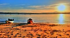 Evening kayaking ('phone camera) (elphweb) Tags: hdr highdynamicrange nsw australia water bay creek sea ocean sunset sun light glow sky skies blue orange kayak kayaking kayaks beach sand