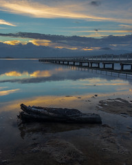 Sunset at Primbee Jetty (RoamingSkies) Tags: sunset water lake jetty landscape clouds sky reflection wood mountains australia seascape