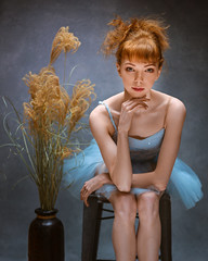 Young ballerina (sauliuske) Tags: red redhead ballerina dancer young female girl portrait style vintage mood costume ballet face