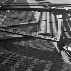 untitled (kaumpphoto) Tags: rolleiflex 120 tlr contrast bw black white brick steps metal parallel shadow window wall angle railing composition lines escape bolt stairs stairway ascend stone rungs climb minneapolis
