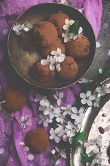 plum blossom chocolate truffles.style rustic (Zoryanchik) Tags: plumblossom chocolate truffles balls background food white fresh sweet snack dessert homemade delicious tasty spring rustic