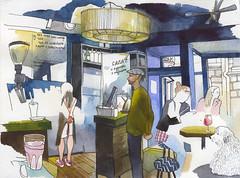 Ordinary people cafe (bogema) Tags: обычныелюди кафе рыбацкая петроградская cafe sketch watercolor watercolour ordinarypeople saintpetersburg санктпетербург акварель