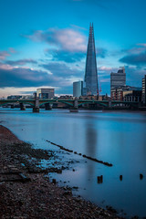 Sharp blue glass (The Frustrated Photog (Anthony) ADPphotography) Tags: category citiestowns england london longexposure places riverthames theshard travel uk unitedkingdom waterblur cloudblur architecturephotography cityscape skyline sky clouds dusk evening water river bridge reflections canon1585mm canon70d canon city building