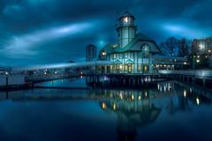 Bastion Lighthouse blue (kellypettit) Tags: baston lighthouse restaurant nanaimo bc westcoast vancouverisland downtown night bluelight ocean sea reflection glow