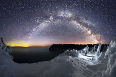 The Flow of Light and Ice (andrewpmorse) Tags: night sky skyscape milkyway stars starscape darkness winter spring landscape landscapes brucepeninsula brucepeninsulanationalpark nationalpark nationalparks ice water lake lakehuron panorama canon canon5dmarkiv 5dmarkiv rokinon14mmf28