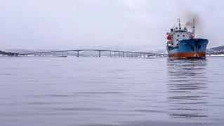 Sandnessund bridge and cargo ship Wilson Reef