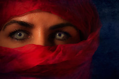 Stop staring (alideniese) Tags: smileonsaturday eyecatcher eyes portrait scarf covering headcovering masked partial hidden revealed person woman friend light shadow bright dark colour texture red blue green alideniese