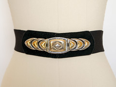 Stretchy Eighties Belt (.godo) Tags: etsy vintage 1980s elastic black gold metal buckle beltaccessories thick large beyonce janetjackson paulaabdul style fashion statement piece eighties 80s 90s nineties 1990s medium plussize women geometric suede leather goth