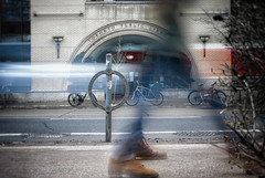 It Was All A Blur (Paul Flynn (Toronto)) Tags: toronto city motion blur long exposure street college road person bicycle bike feet traffic library portico entrance building