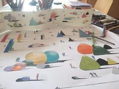 Dessin en cours d'exécution sur la tabe de travail....... (J-M.I) Tags: aquarelle art house architecture watercolour dessin illustration graphisme aubrac artiste haute garonne 31 aveyron 12 vines castelginest exposition