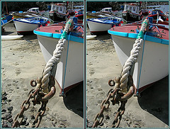 Balliolman_Chain and Rope_X (Balliolman) Tags: boats 3d cool fantastic sand cornwall harbour footprints pebbles rope chain stereo crossed shackle kernow coverack lizardpeninsula