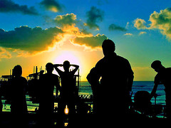 Listening To The Sound of Peace Under The Sunset (^riza^) Tags: sunset people bali music beach indonesia traditional august 2006 bamboo orchestra westjava kuta streetperformance sundanese angklung indonesiaphotobloggers thebiggestgroup daengudjo