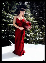 Visions (ladder_711) Tags: trees red portrait woman snow glass beauty woods fantasy redball douglasfir