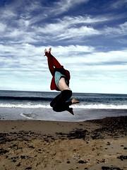 Diving jump (Earlette) Tags: sky beach kids children fun high jumping sand waves ashleigh colourcolor