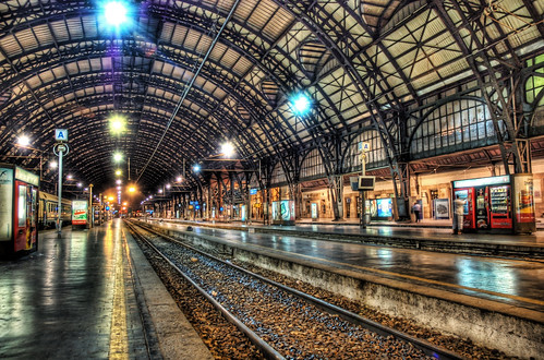 Milan Train Station at Midnight (by Stuck in Customs)