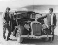 Woolsley and 2 travellers from Queensland to WA (spelio) Tags: travel sa nullarbor oldcar wolsley bw neg scans outback arty classic eyre highway linked favs favourites favorites 352views171012 700views061014 942views18515fb historic good fave oldbomb r5619null johnd 1618views310118 flickrbug error foh