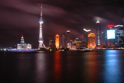 Vista Nocturna del Bund de Shangai