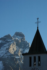 Steeple and the mountain (travelcedric) Tags: italy italia matterhorn cervino