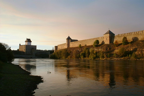 Narva castle on the left, Ivangorod castle on the right