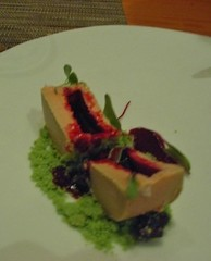 WD-50: Tasting Menu - Foie Gras, candied olives, green peas, beet juice (inside)
