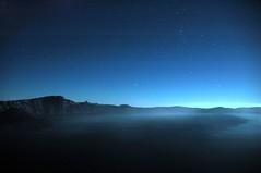 Night view of the lake (JoeCollver) Tags: sky night oregon stars awesome craterlake starry starrynight craterlakenationalpark starlit starrysky craterlakenationalmonument craterlakenationalforest starlitnight