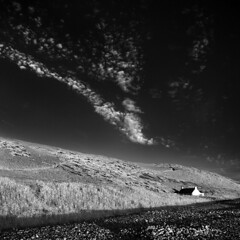 Newgale (inframel) Tags: blackandwhite cloud house track pebbles ethereal infrared hillside