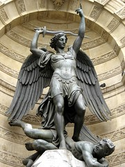 This statue of St. Michael Archangel can be found at the Fontaine Saint-Michel in Paris.