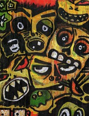 [mb] Scary Faces (Merrick Brown) Tags: wood original favorite art halloween dark pumpkin weird sketch interesting scary eyes paint faces mask jackolantern expression sinister menacing cartoon evil myfav tribal myart marker nonphoto sharpie fav mb merrick primitive artisticexpression merrickbrown justchicagoart merrickb