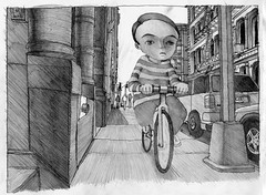fredrick the biker update (BIGAWK) Tags: life road street nyc light shadow portrait newyork love bike bicycle illustration pencil design coast sketch interestingness child ride graphic zoom drawing render character think dream sketchbook sidewalk study imagination create draw pedal blackbook