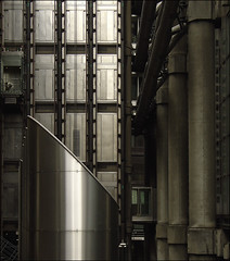 . Rhapsodies Of The City . Pt.1 - Shaft . (3amfromkyoto) Tags: city man cold building male london metal solitude industrial lift flat steel elevator pipes cables isolation scared hiding fragile isolated lloyds shaft vents frightened lloydsbuilding richardrogers 3amfromkyoto rhapsodies flickr:user=3amfromkyoto