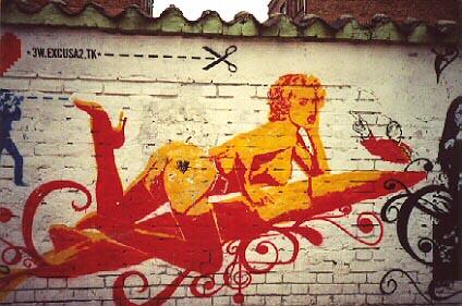 wall graffiti stencil colombia bogota surfboard pinup