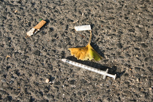 cigarette heroin needle addiction street